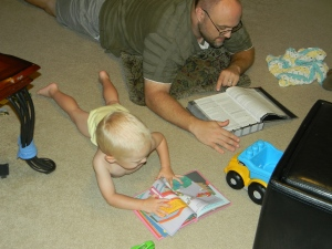 Read like Daddy. Yes, this makes for a great day around here.