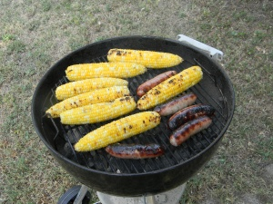 grilling brats and corn. Yum.